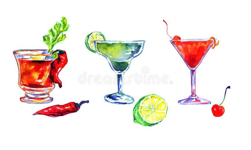 Bloody mary, Margarita en Kosmopolitisch stock illustratie