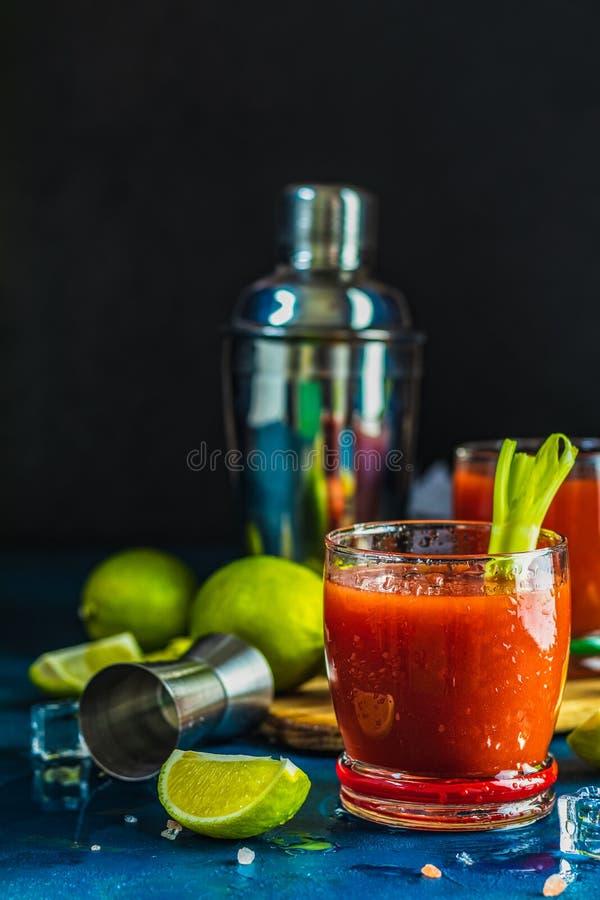 Bloody Marycoctail i deldrinkexponeringsglas arkivfoto