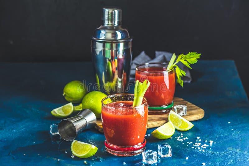 Bloody Marycoctail i deldrinkexponeringsglas arkivfoton