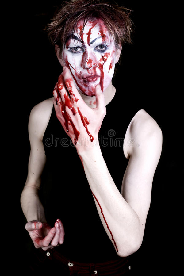 Bloody mime. On a black background royalty free stock image