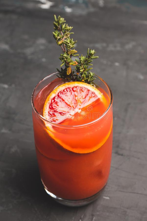 Free Bloody Oranges Beverage With Thyme Stock Image - 142288051