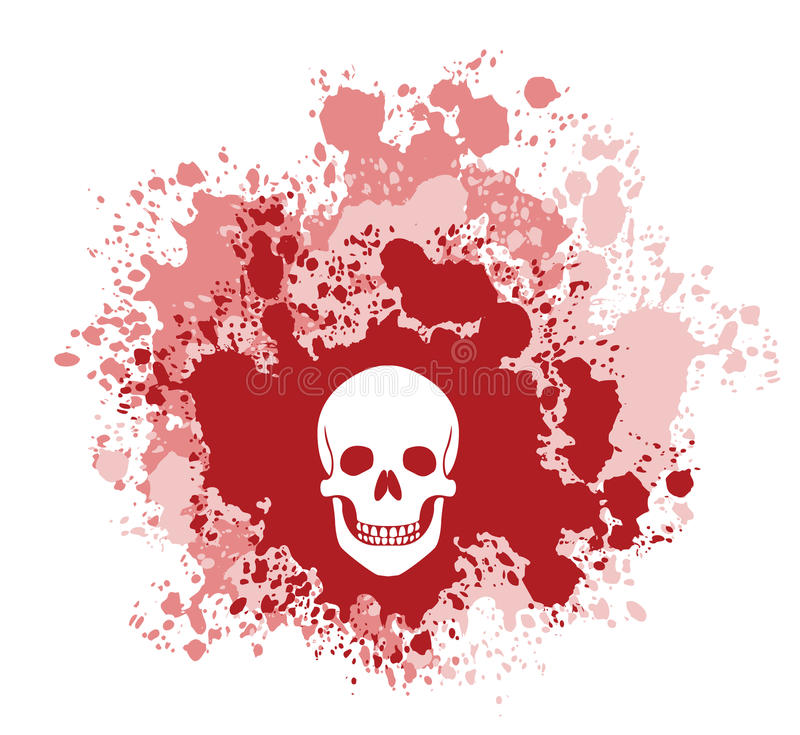 Bloody Skull. A four color vector grunge illustration. Depicts a human skull on a blood spatter backdrop stock illustration