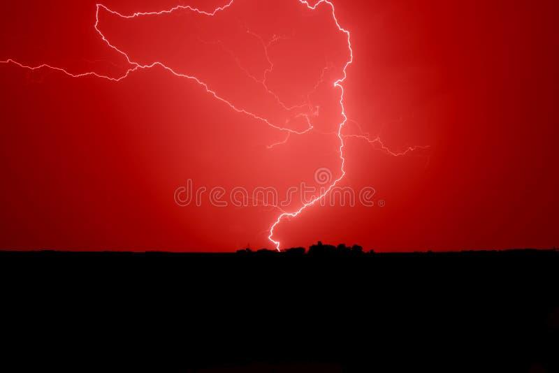 Bloody Sky Lightning stock photo