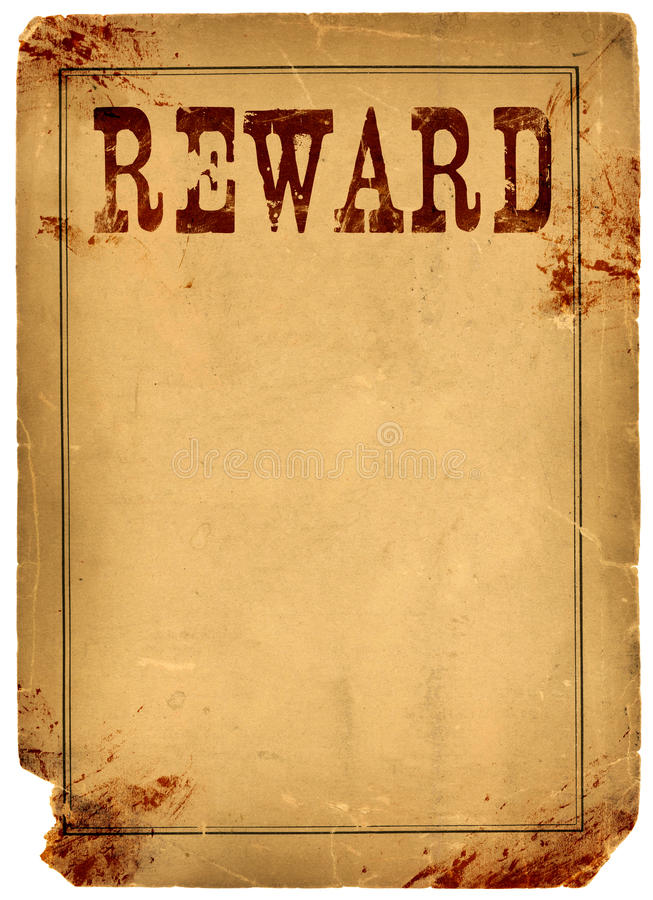 Blood Stained Reward Poster 1800s Wild West royalty free stock photography