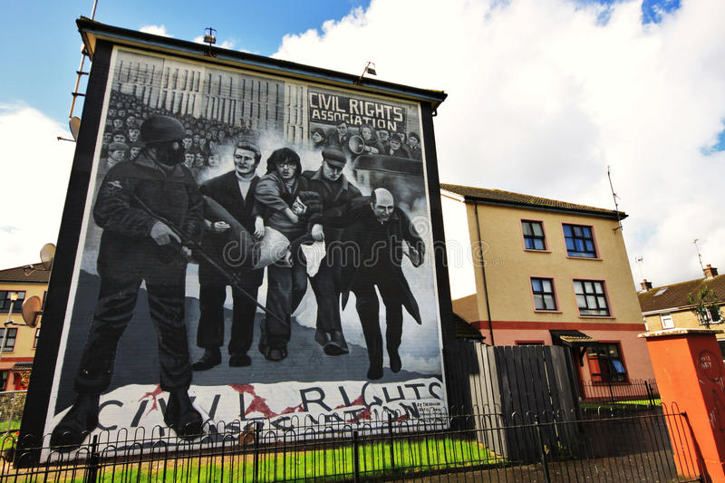 Bloody Sunday wall-paintings in Londonderry. Bloody Sunday memorial wall-paintings in Londonderry, Ulster, Northern Ireland royalty free stock images