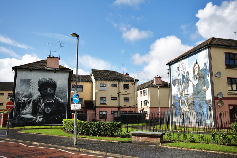 Bloody Sunday wall-paintings road in Londonderry. Bloody Sunday memorial wall-paintings road in Londonderry, Ulster, Northern Ireland royalty free stock images