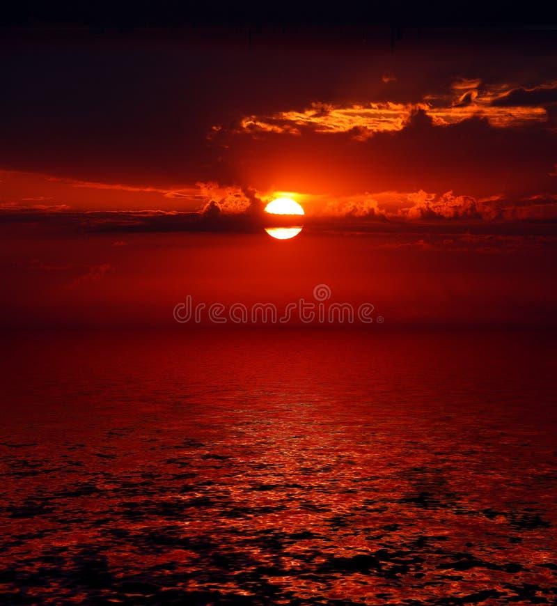 Bloody Sunrise Over Sea Royalty Free Stock Photo