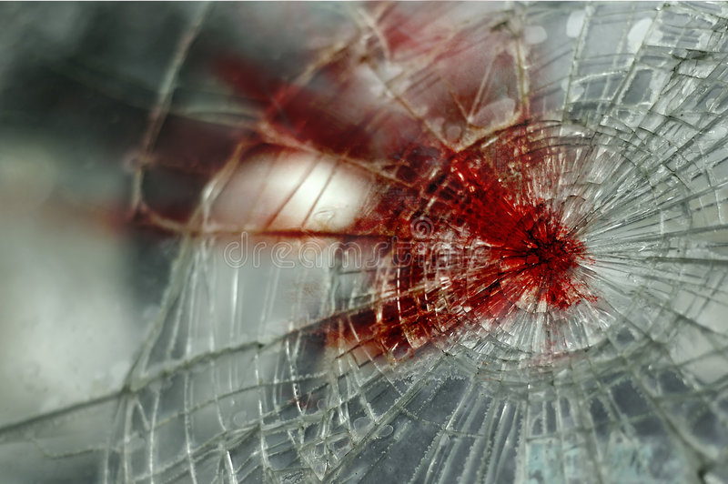 Bloody Windshield. A cracked and bloody windshield stock photos