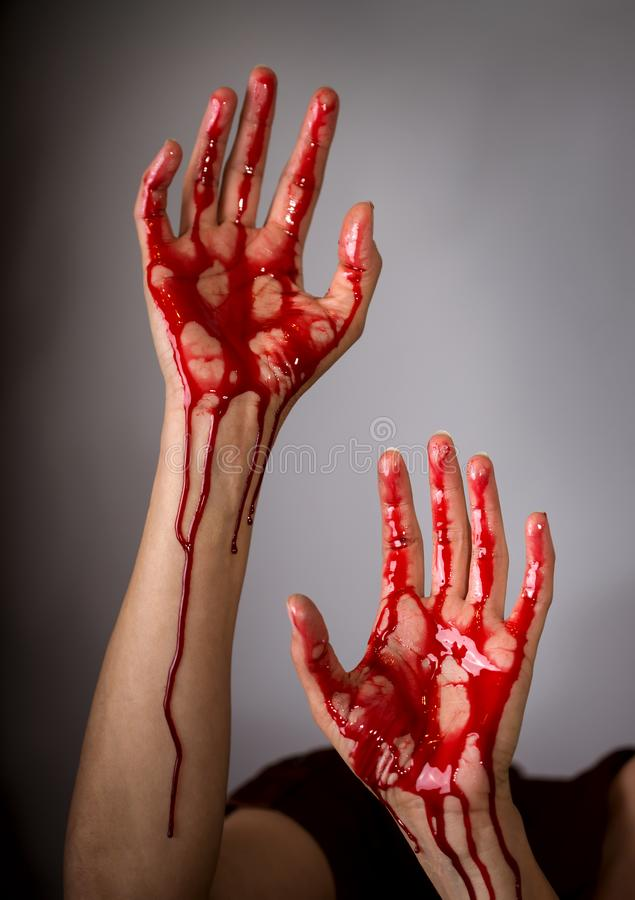 Bloody Woman Hands stock photo