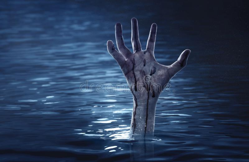 Bloody zombie hand, halooween theme. S royalty free stock images