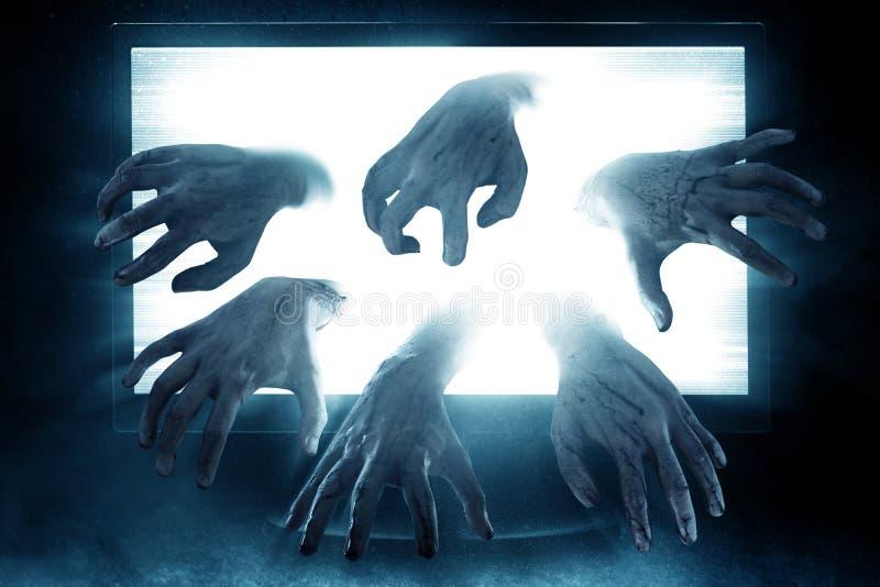 Bloody zombie hands, halooween theme stock photo