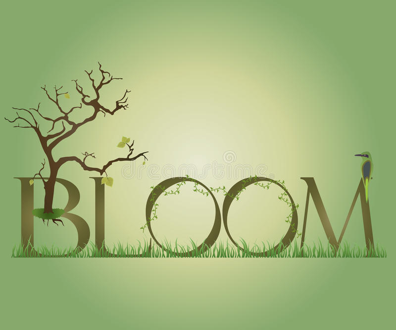 Bloom. An illustration of nature in bloom. Green tones royalty free illustration
