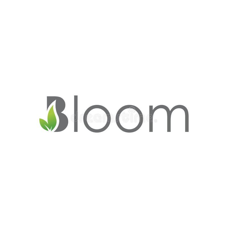 Bloom Lettering Typography logo design vector illustration. Aroma, fresh, rose, growth, paintbrush, healthy, environment, life, tree, fashion, garden, wreath royalty free illustration