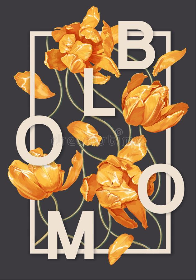 Trendy poster with blooming yellow tulips flowers. Spring theme background. stock illustration