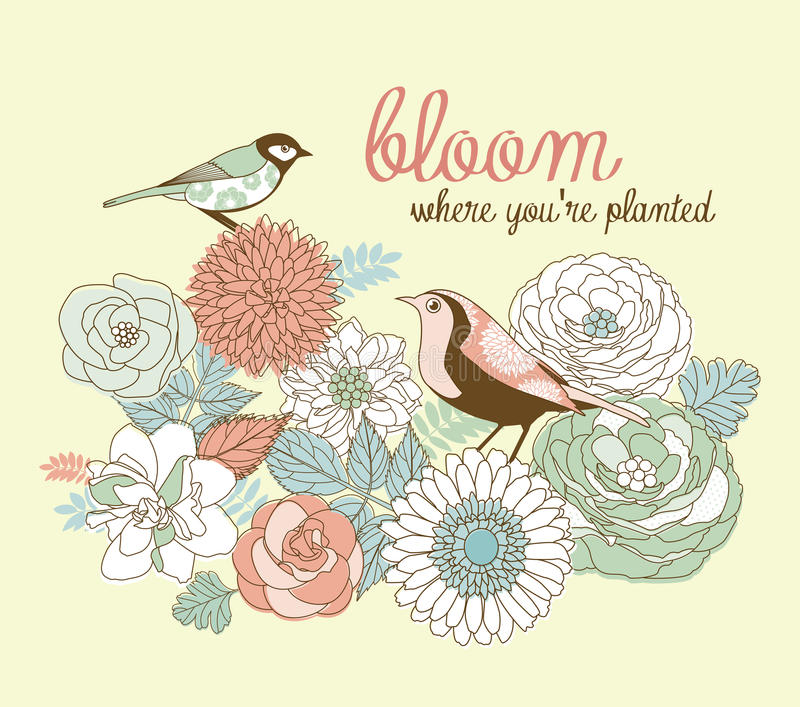 Bloom where you're planted royalty free illustration