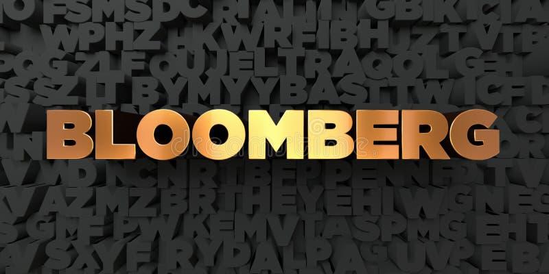 Bloomberg - текст золота на черной предпосылке - 3D представила изображение неизрасходованного запаса королевской власти иллюстрация вектора