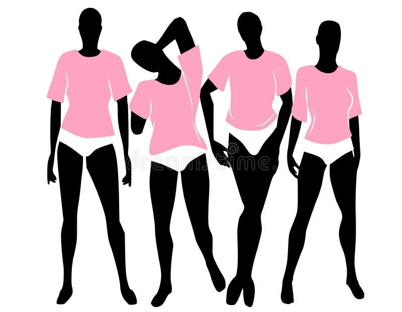 Bloomers rosados de las camisetas de las mujeres ilustración del vector
