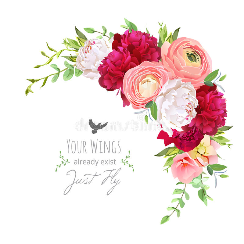 Blooming bouquet floral vector frame with ranunculus, peony, rose, green plants on white. Pink, burgundy red and white flowers. C stock illustration