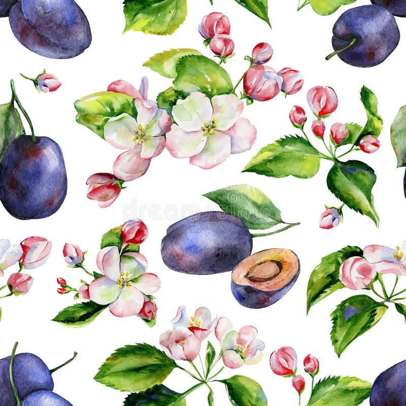 Apple tree branches and plums seamless pattern stock illustration