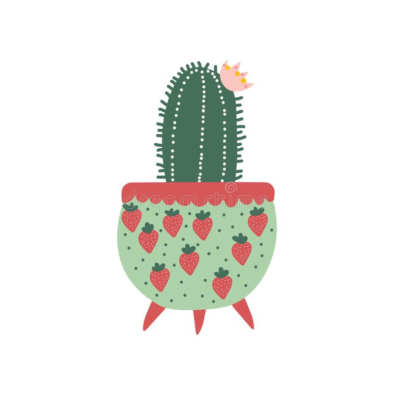 Blooming Cactus House Plant Growing in Cute Flowerpot, Design Element for Natural Home Interior Decoration Vector. Illustration on White Background stock illustration