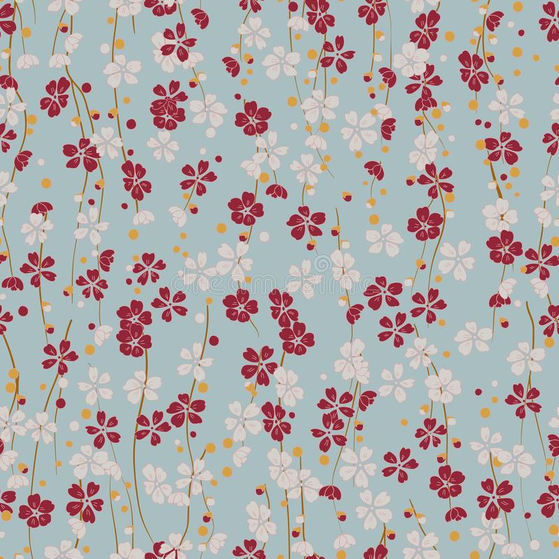 Blooming cherry. Japanese culture. Retro japanese seamless pattern with red sakura. Oriental ornament background. Vector royalty free illustration