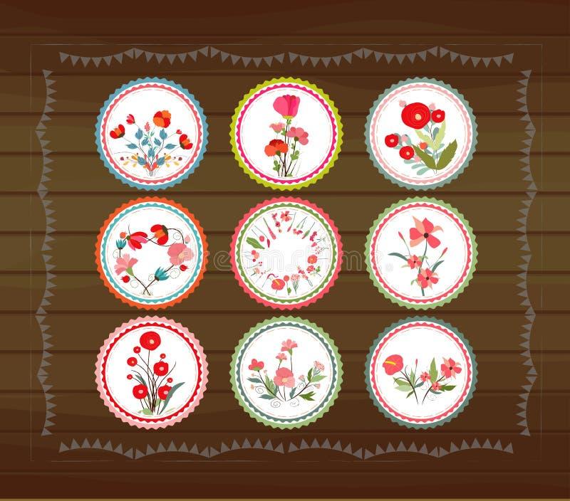 Blooming circle tags royalty free illustration