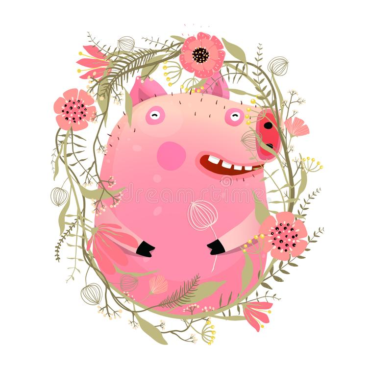 Cute Kids Pig Portrait in Flowers royalty free illustration