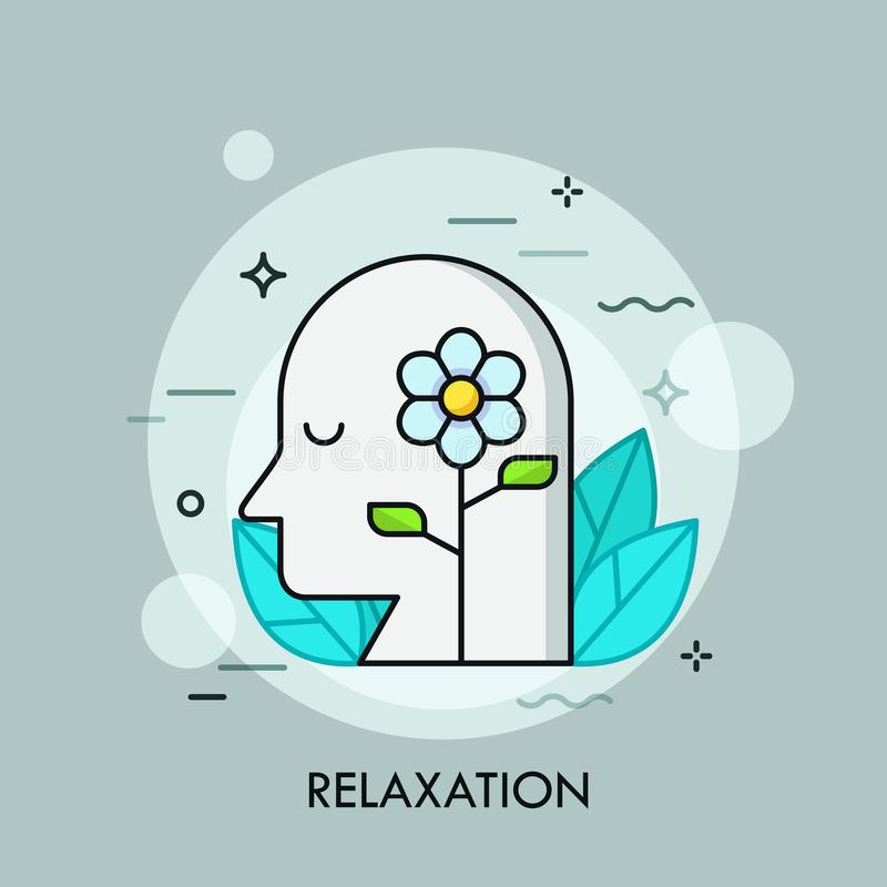Blooming flower and human head with closed eyes surrounded by green leaves. Concept of relaxation, repose, recreation. Tranquility, meditation. Vector vector illustration