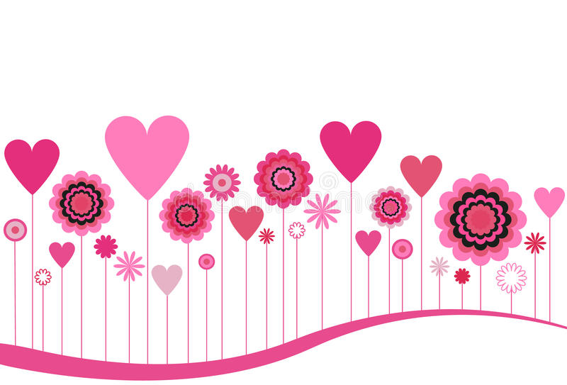 Blooming Flowers and Hearts. Flowers and Hearts featured on an abstract wave landscape on a white background stock illustration