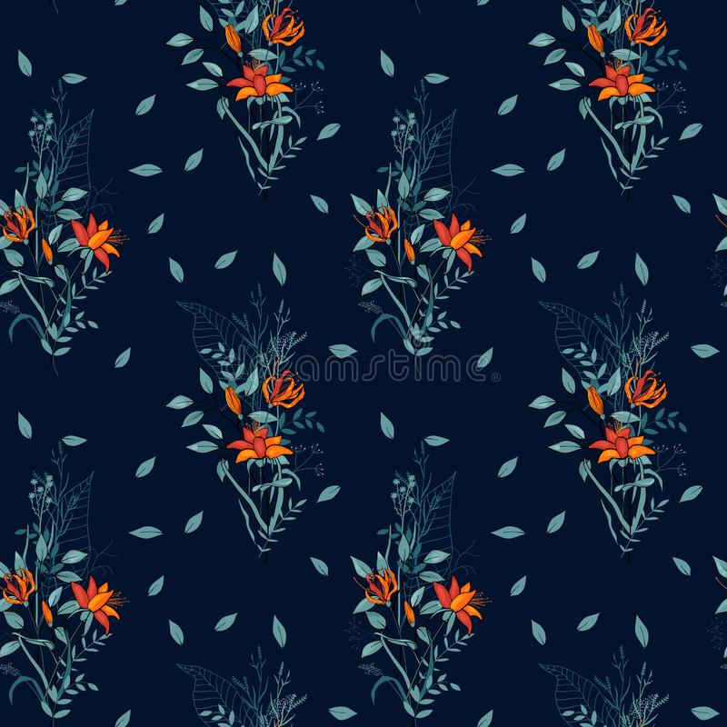 Vintage background. Wallpaper. Hand drawn. Vector illustration. Blooming Flowers. Realistic isolated seamless flower pattern. Vintage background. Wallpaper stock illustration