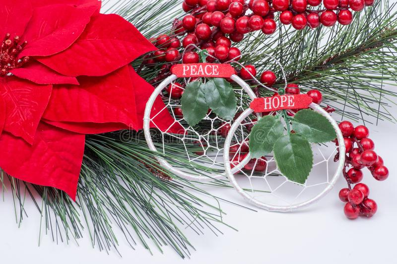 Blooming Holiday Red Poinsettia, Pine and Berry bush and ornament decoration in form of green leaf and sign hope and peace. Blooming Holiday Red Poinsettia, Pine royalty free stock photo