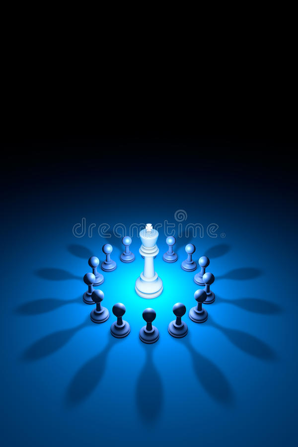 Blooming King (chess metaphor). 3D rendering illustration. Standing Out from the Crowd. Available in high-resolution and several sizes to fit the needs of your vector illustration