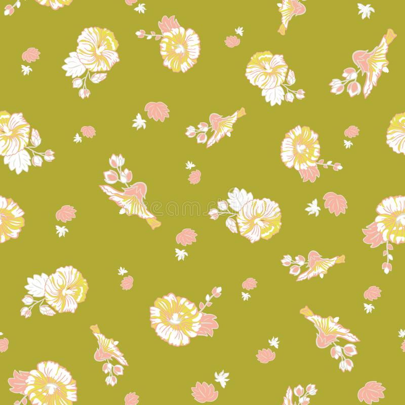 Blooming pink green mallow flower garden seamless repeat vector pattern background for fabric, scrapbooking, wallpaper royalty free illustration