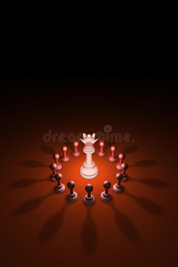 Blooming Queen (chess metaphor). 3D rendering illustration. Standing Out from the Crowd. Available in high-resolution and several sizes to fit the needs of your vector illustration