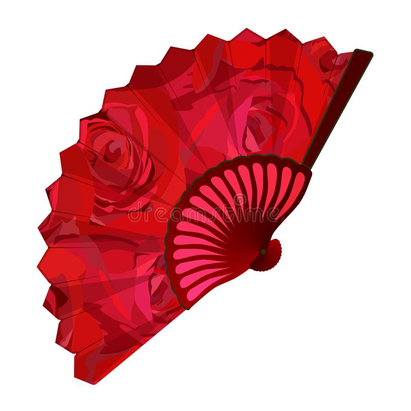 Blooming red rose folding fan, vector isolated illustration royalty free stock image