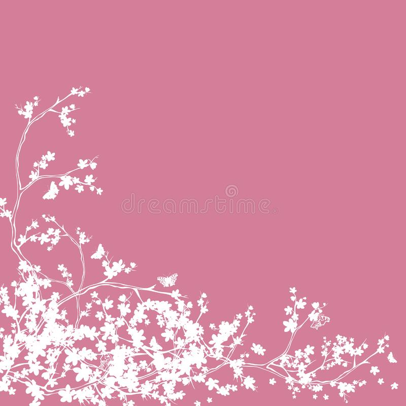 Cherry tree blossom and butterflies silhouette decor stock illustration