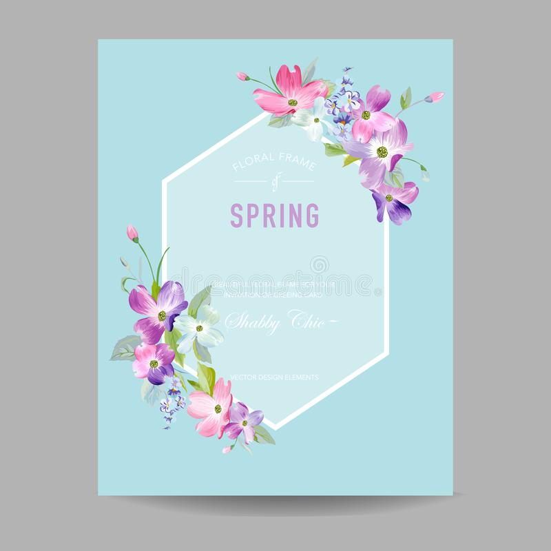 Blooming Spring and Summer Floral Frame. Watercolor Dogwood Flowers for Invitation, Wedding, Baby Shower Greeting Card vector illustration