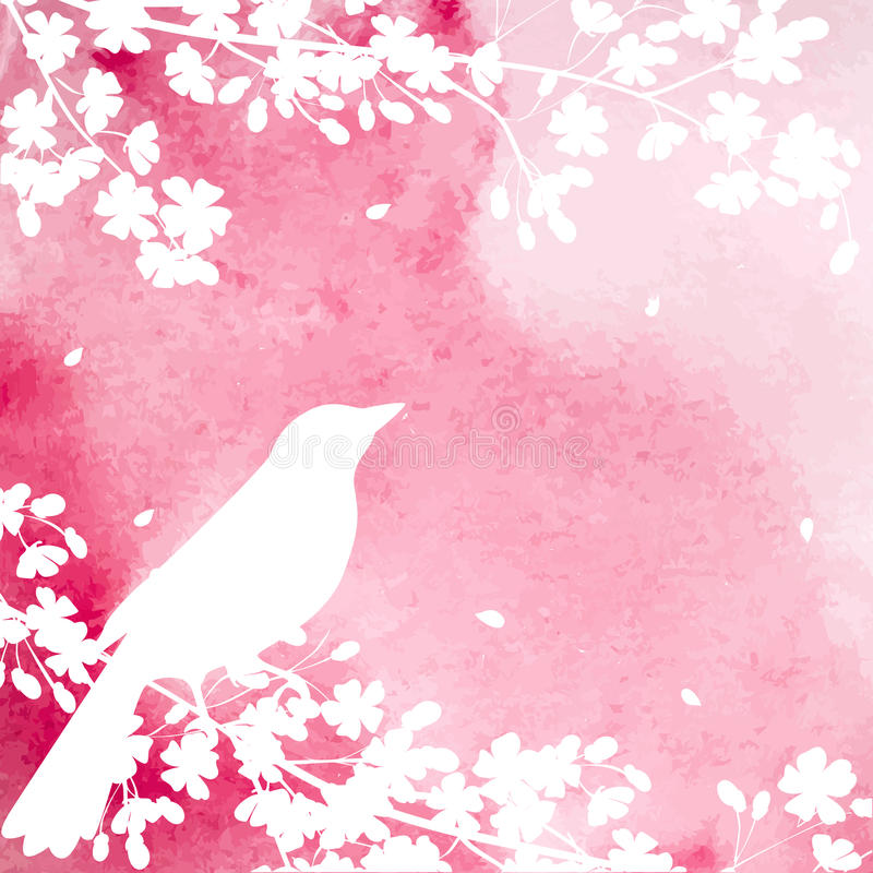 Blooming tree and birds royalty free illustration