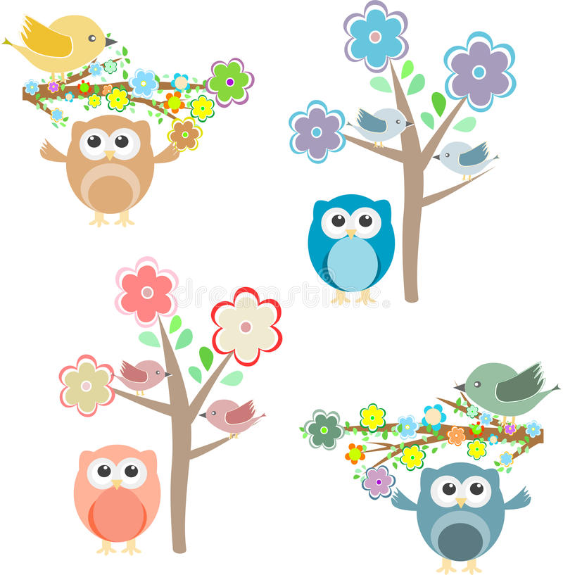 Blooming tree and branches with owls and birds. Blooming tree and branches with sitting birds and owls set royalty free illustration