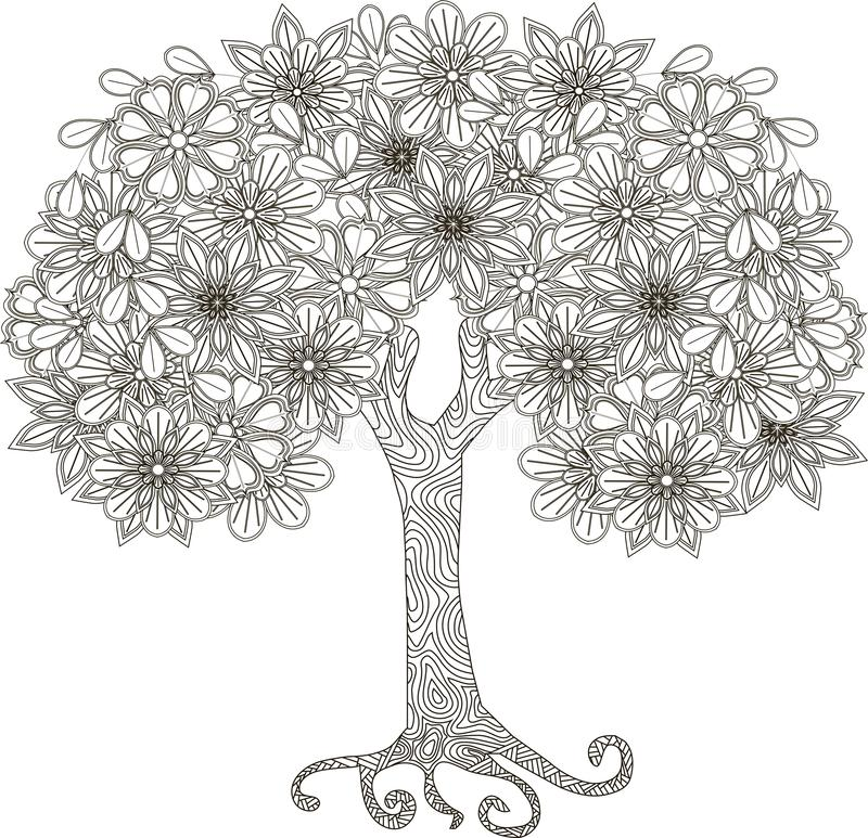 Blooming tree for coloring book, anti-stress. Vector illustration vector illustration