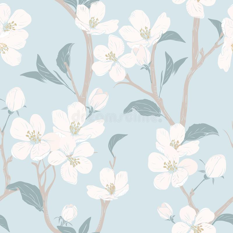 Blooming tree. Seamless pattern with flowers. Spring floral texture. Hand drawn botanical vector illustration vector illustration