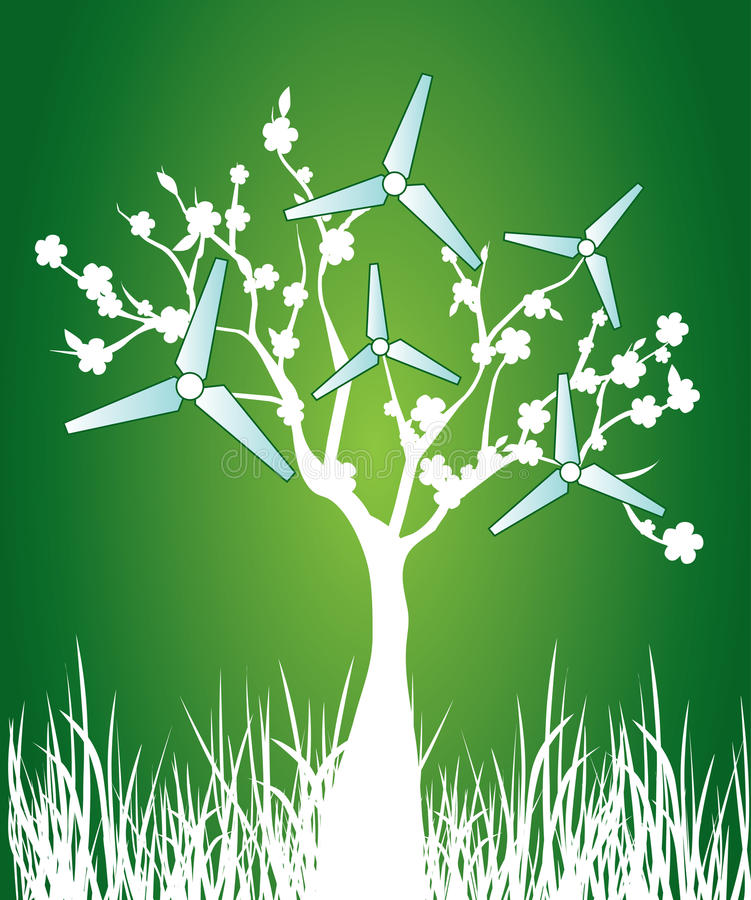 Download Blooming Tree With Windmills Stock Photos - Image: 13246093