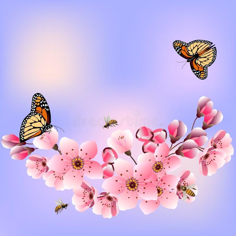 Blooming van kersen in een vectorillustratie royalty-vrije illustratie