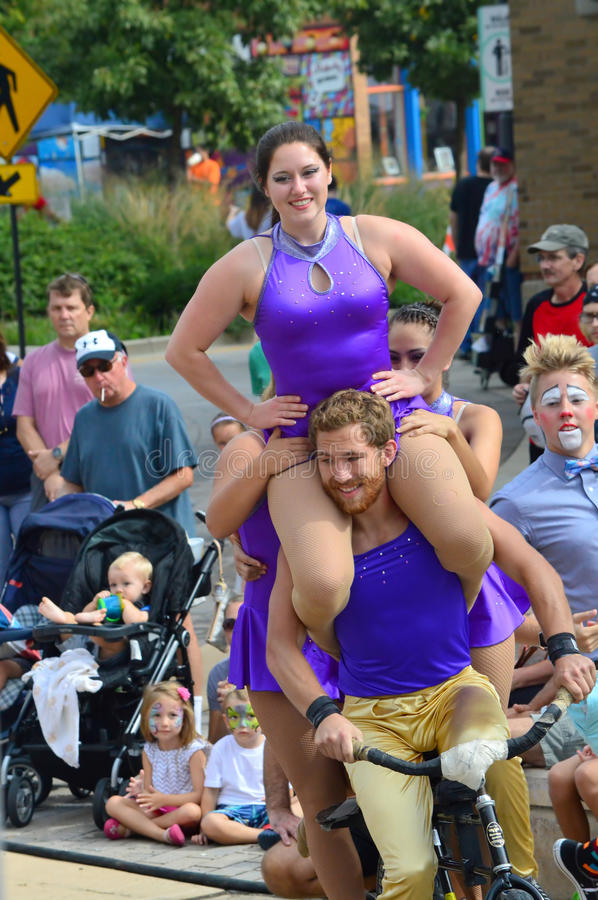 Bloomington City, USA - August 27, 2016 - The Gamma Phi Circus p. Erformers at the Circus at Sweetcorn and Blues Festival - This photo was taken during Sweetcorn royalty free stock images