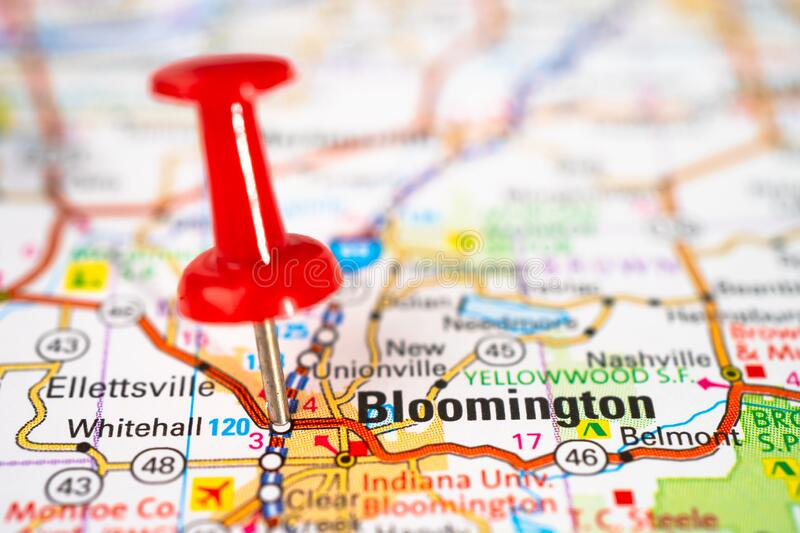 Bloomington, Indiana, Monroe road map with red pushpin, city in the United States of America. USA royalty free stock photos