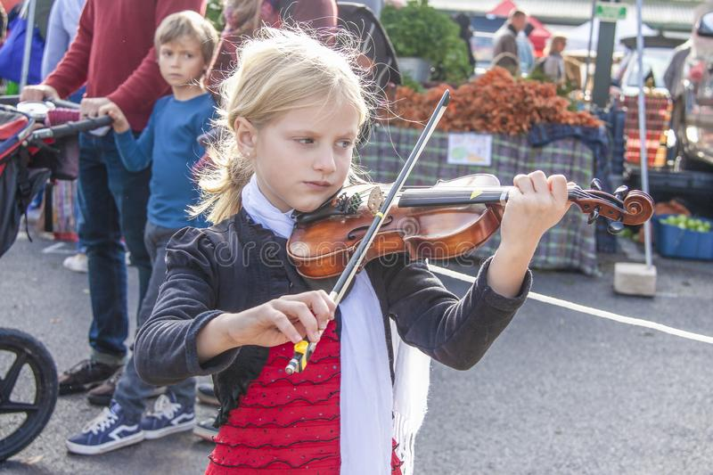 Little girl concentrating on playing violin at farmers market as little boy with parents looks at her royalty free stock photos