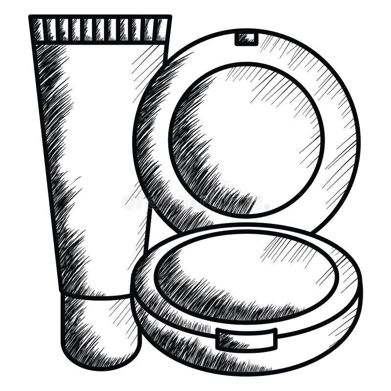 Bloos en helder maak omhoog het trekken van pictogram stock illustratie
