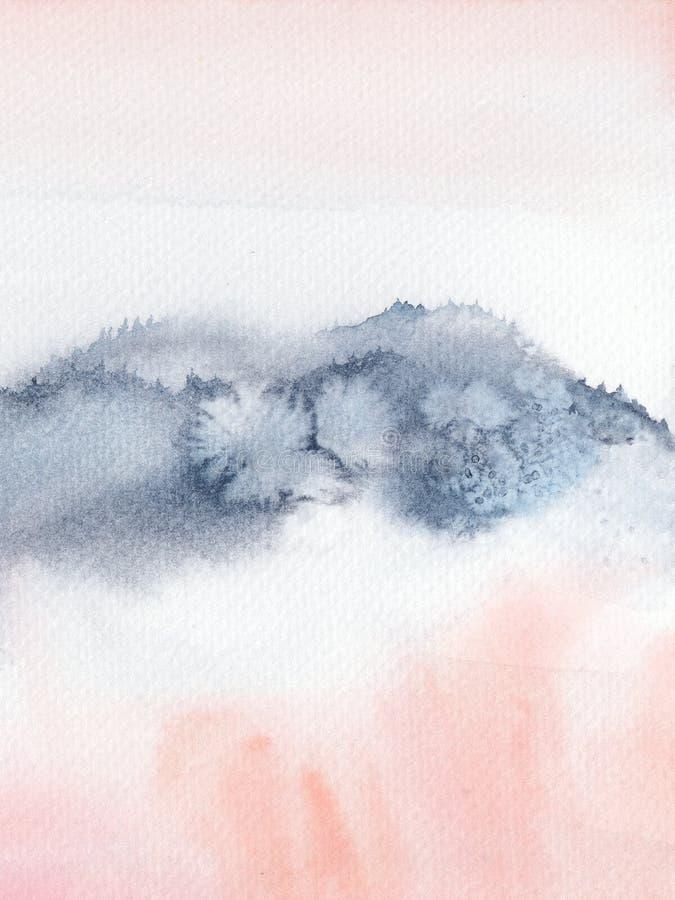 Bloos Roze en marineblauw abstract waterverfhand geschilderd landschap royalty-vrije stock foto