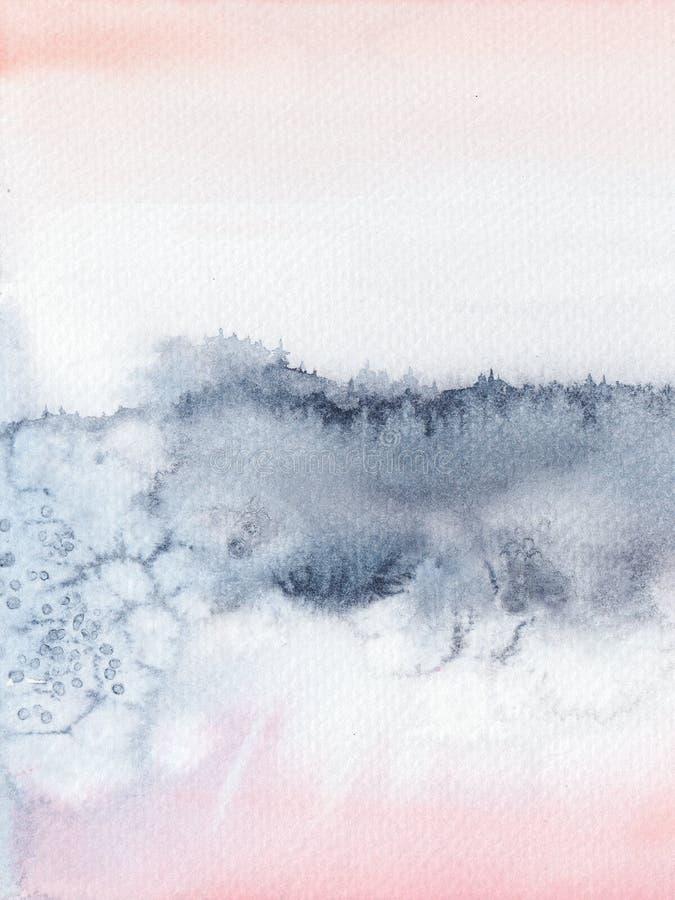 Bloos Roze en marineblauw abstract waterverfhand geschilderd landschap royalty-vrije stock fotografie
