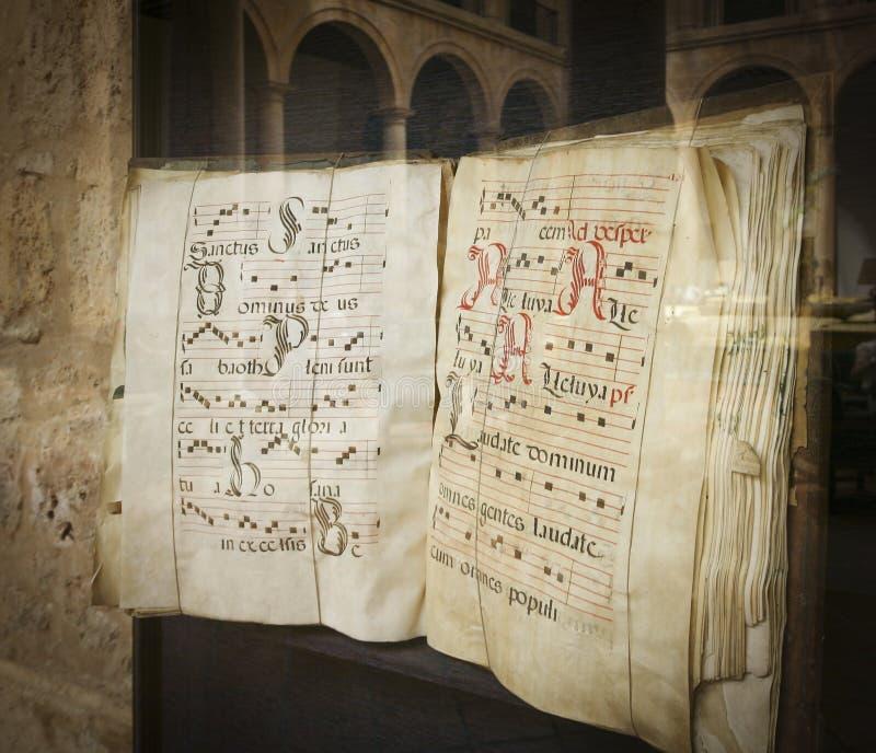 Blootstelling van een middeleeuwse codex royalty-vrije stock afbeeldingen